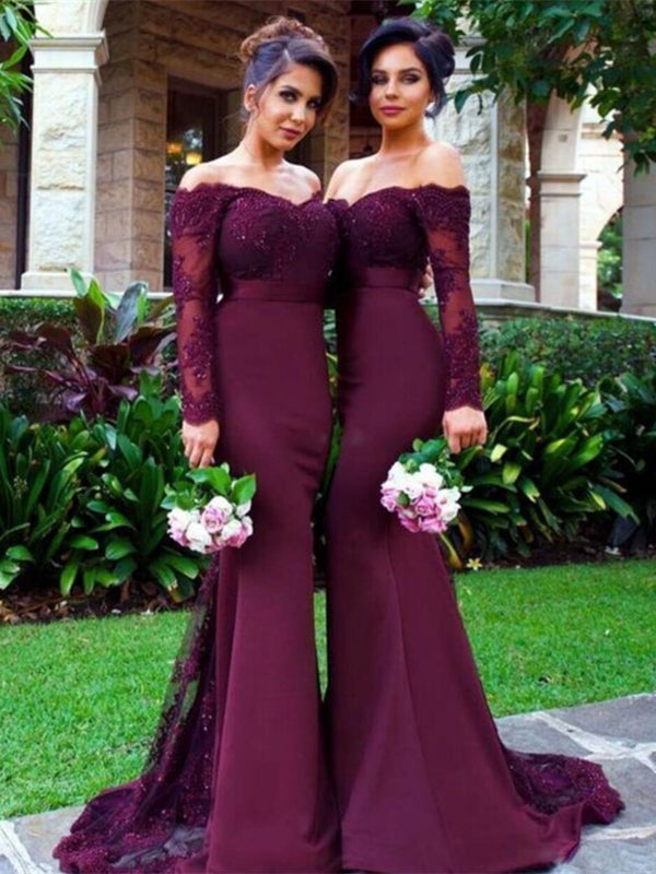 Off Shoulder Long Mermaid Lace Beaded Bridesmaid Dresses, Cheap Bridesmaid Dresses
