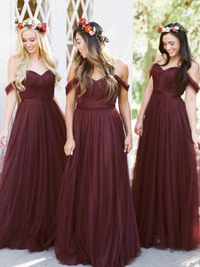 Off Shoulder Dark Red Tulle Bridesmaid Dresses, Long Bridesmaid Dresses