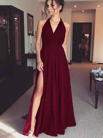 Sexy V-neck Side Slit A-line Prom Evening Dresses
