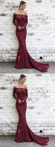 Off Shoulder Mermaid Lace Long Sleeves Prom Dresses