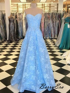 Popular Blue Lace Long Prom Dresses, Strapless Party Prom Dresses