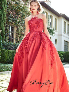 Red Color Appliques A-line Prom Dresses, Strapless Long Prom Dresses