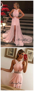 Slit Beaded Evening Party Prom Dresses, New Arrival Prom Dresses 2019