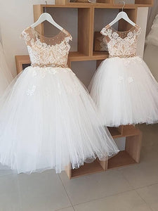 Round Neck Illusion Tulle Lace Flower Girl Dresses, Beaded Flower Girl Dresses, Cute Flower Girl Dresses