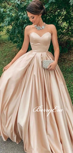 Sweetheart Long Prom Dresses, Satin Prom Dresses, Elegant Long Prom Dresses, Simple Prom Dresses
