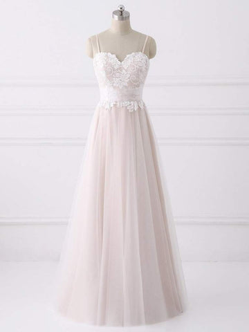 Spaghetti Long A-line Lace Tulle Simple Wedding Dresses