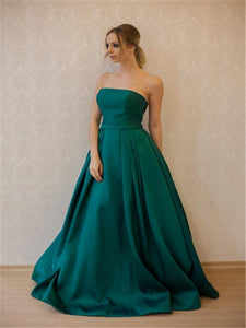 Strapless Green Satin Long A-line Prom Dresses