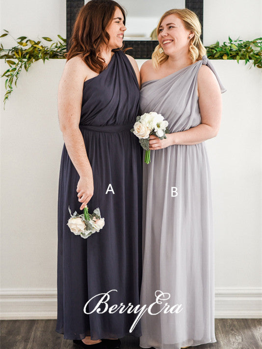 One Shoulder Grey Chiffon Long Bridesmaid Dresses