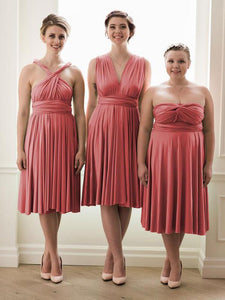 Coral Convertible Short Bridesmaid Dresses