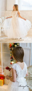 Lovely Ruffled Ivory Tulle Appliques Flower Girl Dresses