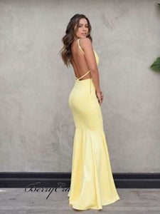 Simple V-Neck Long Mermaid Yellow Jersey Prom Dresses Cheap Prom Dresses
