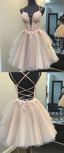 Newest Nude Lace Tulle Homecoming Dresses, Lace Up Homecoming Dresses, Short Prom Dresses