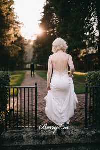 Simple Design Backless Beaded Wedding Dresses, Lace Wedding Dresses