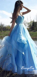 Light Blue Strapless Modest Prom Dresses, A-Line Tulle Long Prom Dresses
