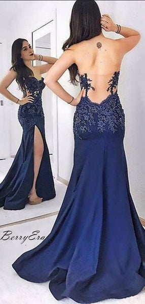Strapless Navy Blue Lace Appliques High Slit Long Prom Dresses, Popular Prom Dresses