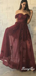 Off the Shoulder Burgundy Lace Prom Dresses, A line Long Prom Dresses