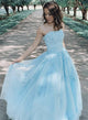 Strapless Long A-line Light Blue Lace Tulle Prom Dresses, Newest Prom Dresses, 2020 Prom Dresses