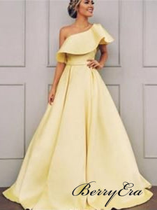Satin A-line Modest Prom Dresses, Trendy New Prom Dresses Long