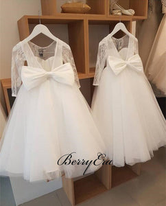 Ivory Tulle Lace A-line Cute Flower Girl Dresses