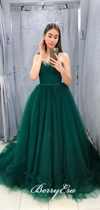 Spaghetti Long A-line Emerald Green Tulle Prom Dresses, Long Prom Dresses, Affordable Prom Dresses