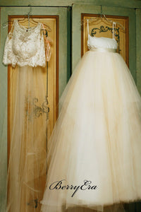 2 Pieces Lace Top Fluffy Tulle Skirt Wedding Dresses, Gorgeous Wedding Dresses, Bridal Gown