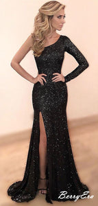 One Shoulder Long Sleeves Prom Dresses, Sequins Bling Prom Dresses