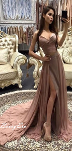 Popular Chiffon Slit Long Strapless Prom Dresses, Cheap Prom Dresses