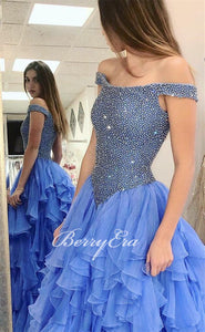 Off Shoulder Beaded Chiffon Prom Dresses, Princess Ball Gown, Popular Prom Dresses