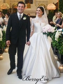 High Neck Lace Top Ivory SAtin A-line Wedding Dresses, Elegant Long Wedding Dresses, Bridal Gown