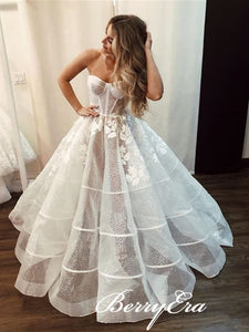 Sweetheart Long A-line Sequin Tulle Appliques Wedding Dresses