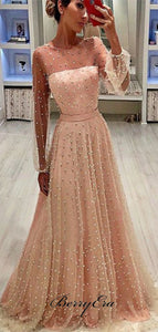 Long Sleeves Beaded Prom Dresses, Luxury A-line Prom Dresses For Evening Party