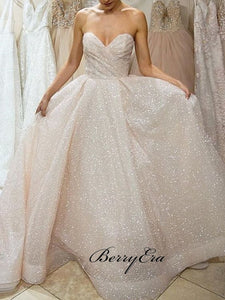 Sweet A-line Strapless Wedding Dresses, Sparkly Modest Wedding Dresses