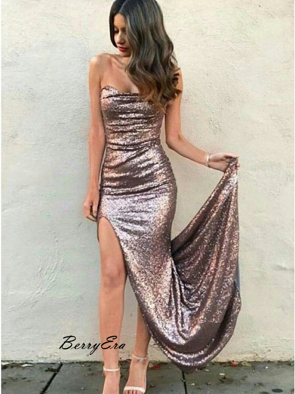 Shiny Sequin Halter High Slit Fancy Prom Dresses, Long Cheap Prom Dresses