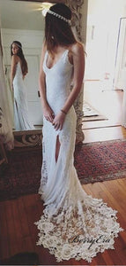 Open Back White Lace Wedding Dress Spaghetti Straps Slit Women Bridal Gowns