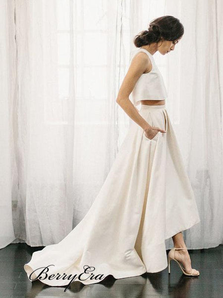 Two Pieces A-line Wedding Dresses, Simple Design Cheap Wedding Dresses