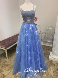 Jewl Long A-line Shiny Sequin Beaded Prom Dresses, Blue Prom Dresses, Long Prom Dresses, 2020 Prom Dresses