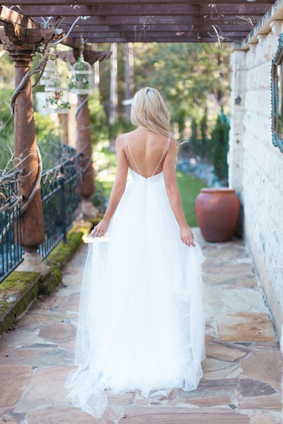 Spaghetti Long A-line Ivory Tulle Wedding Dresses, Bridal Gown