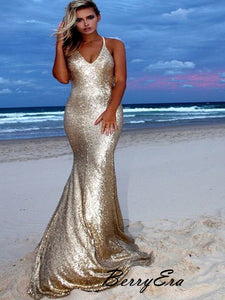 Sparkly Shiny Mermaid Sexy Long Prom Dresses, Bling Fancy Sequins Prom Dresses 2019