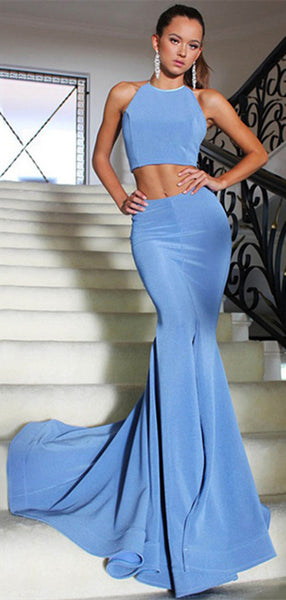 Two-Piece Mermaid Halter Backless Blue Long Prom/Evening Dress