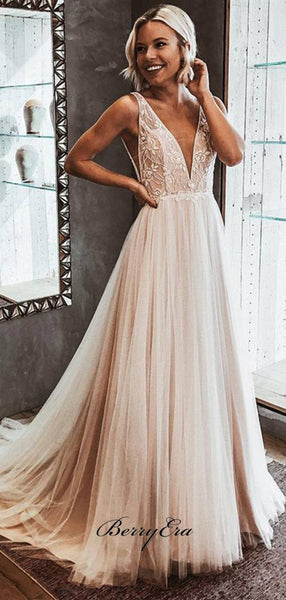 2019 New A-Line V Neck Open Back Ivory Tulle Wedding Dresses, Lace Beach Bridal Gowns