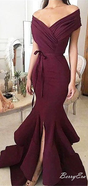 Sexy Burgundy Mermaid Off the Shoulder Fancy Long Prom Dresses 2019
