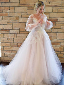 V-neck Long Sleeves Tulle Lace Wedding Dresses, Country Wedding Dresses, Long Wedding Dresses
