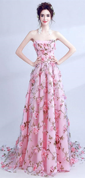 Strapless Long A-line Floral Prom Dresses, Elegant Formal Dresses