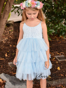 Blue Lovely Lace Flower Girl Dresses, Fluffy Wedding Little Girl Dresses