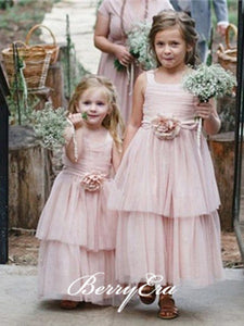 Pink Lovely Tulle Fluffy Flower Girl Dresses