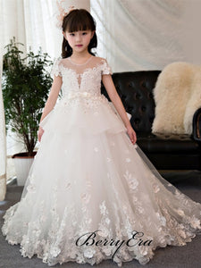 Illusion Lace Tulle Lovely Princess Flower Girl Dresses