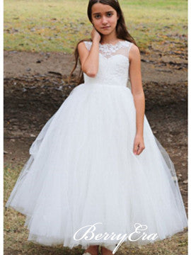 Sleeveless A-line Tulle Lace Flower Girl Dresses
