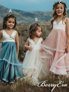 Lovely V-neck Satin Top Tulle Flower Girl Dresses