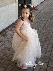 Cute Lace Top Tulle Nude Lovely Flower Girl Dresses
