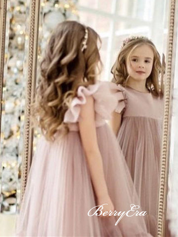 Cute Cap Sleeves Blush Tulle Lovely Flower Girl Dresses